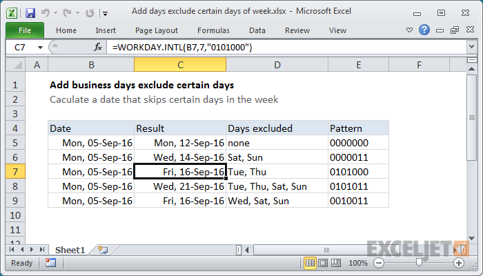excel formula add days exclude certain days of week exceljet