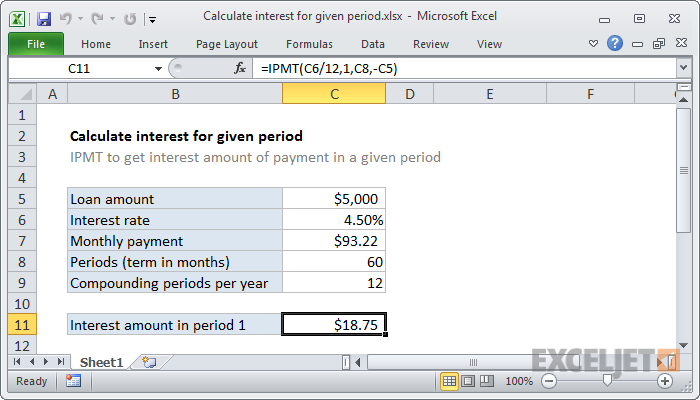 Excel formula: Calculate interest for given period