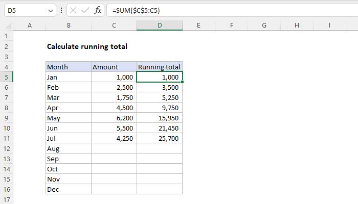 excel formula calculate running total exceljet