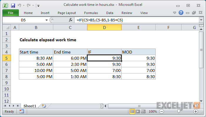 calculate overtime in excel