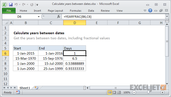 Excel formula: Calculate years between dates | Exceljet