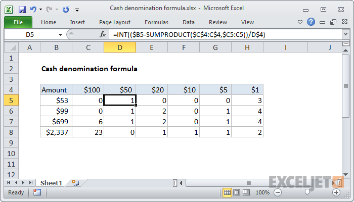 Excel Formula Cash Denomination Calculator Exceljet