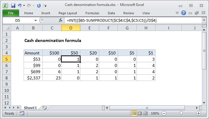 Excel Formula: Cash Denomination Calculator