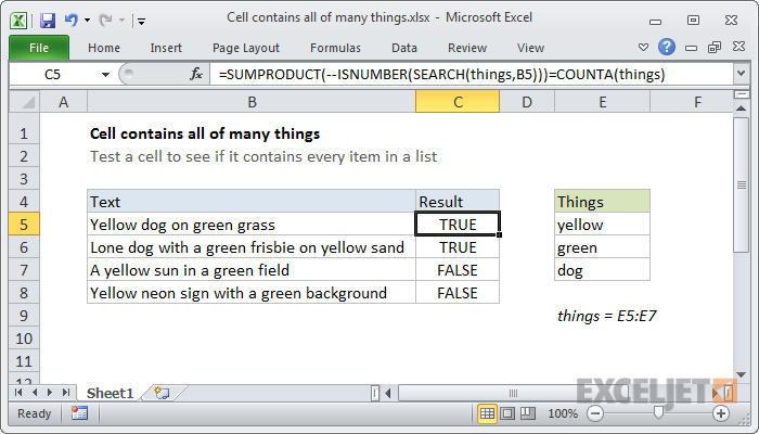 Excel formula: Cell contains all of many things