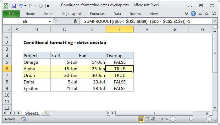 Excel formula: Conditional formatting dates overlap