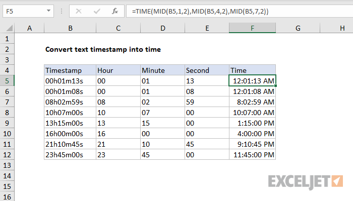 Excel formula: Convert text timestamp into time