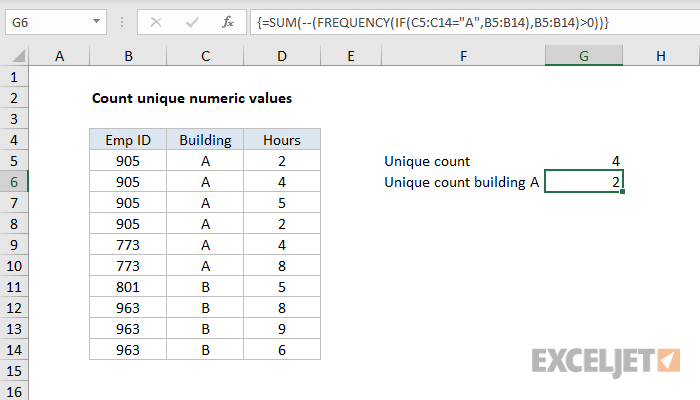 Excel formula: Count unique numeric values with criteria