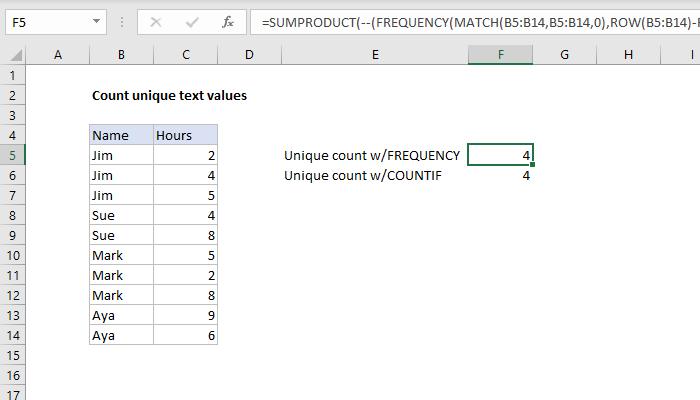 Excel formula: Count unique text values in a range