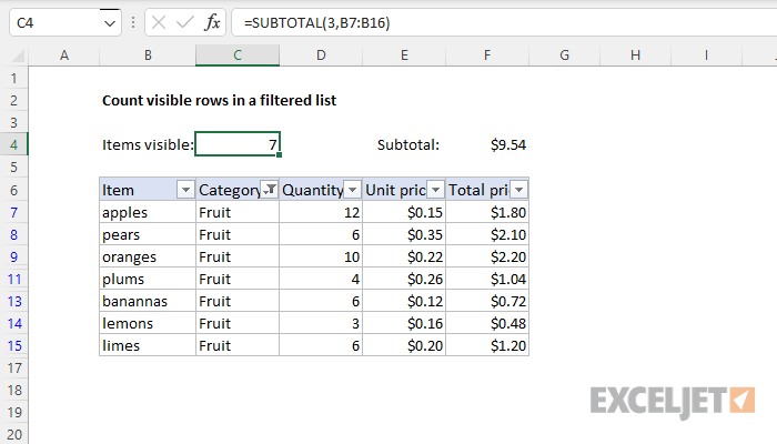 excel formula count visible rows in a filtered list