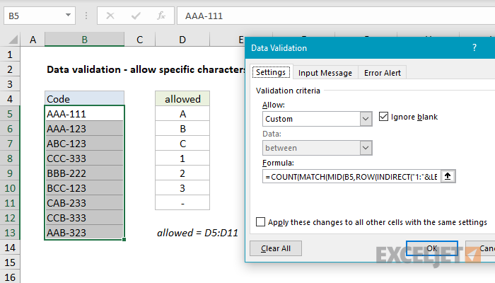 Excel formula: Data validation specific characters only