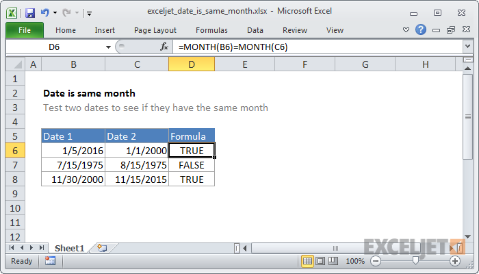 Excel formula: Date is same month