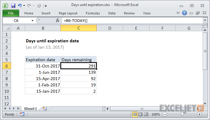 Excel formula: Days until expiration date