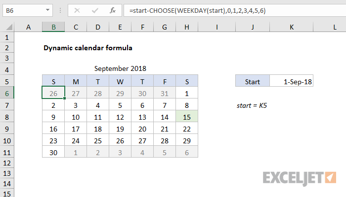 photo relating to Perpetual Calendar Chart referred to as Excel formulation: Dynamic calendar grid Exceljet
