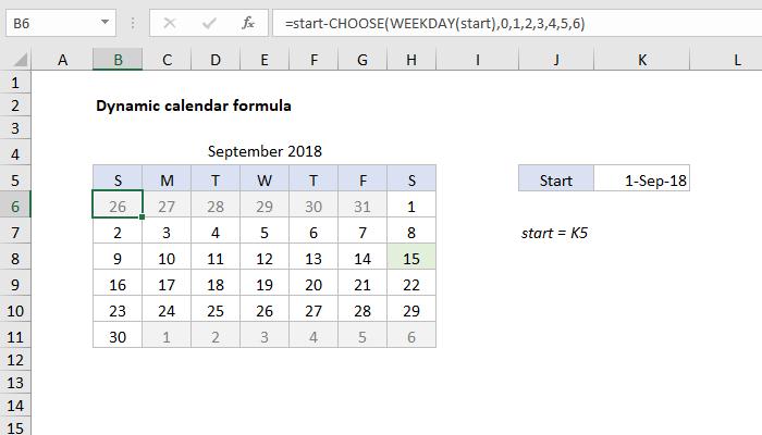 Excel formula: Dynamic calendar grid | Exceljet