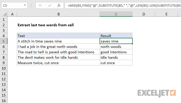 Excel formula: Extract last two words from cell