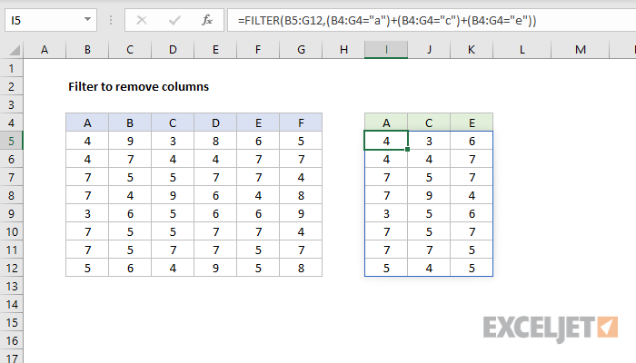 Excel formula: FILTER to remove columns