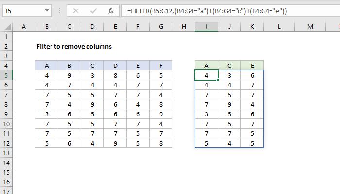 Excel formula: FILTER to remove columns
