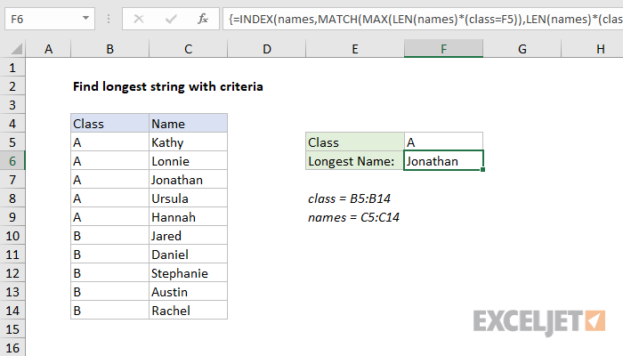 Excel formula: Find longest string with criteria