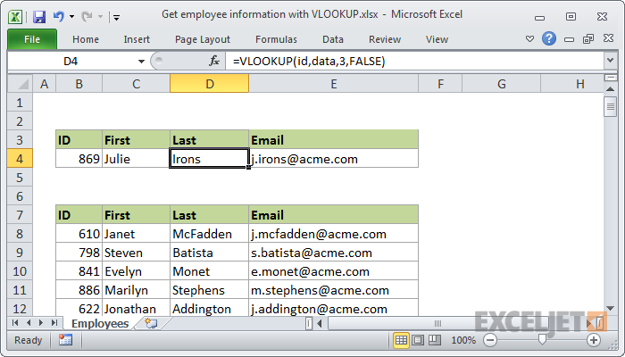 Excel Formula Get Employee Information With Vlookup