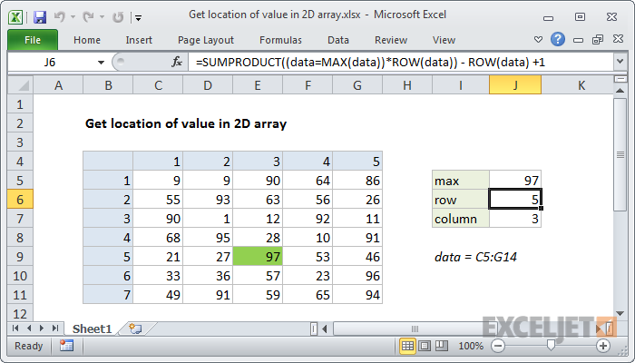 Excel formula: Get location of value in 2D array