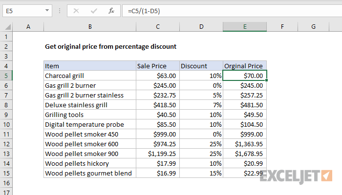 Excel formula: Get original price from percentage discount