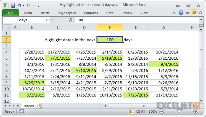 Excel formula: Highlight dates in the next N days