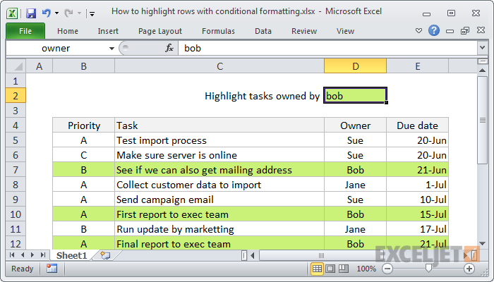 Excel formula: Highlight entire rows