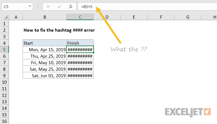 Excel formula: How to fix the #### (hashtag) error