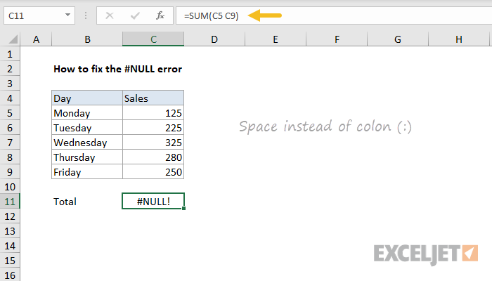 Excel formula: How to fix the #NULL! error