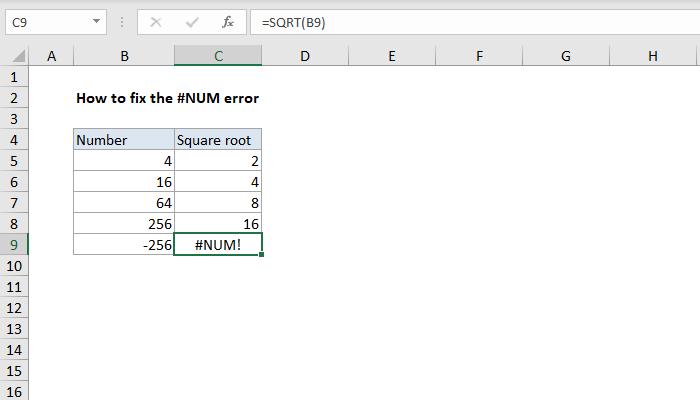 Excel formula: How to fix the #NUM! error