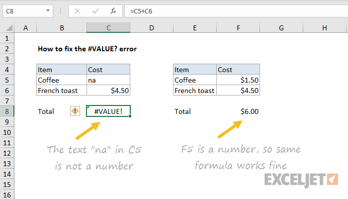 Excel formula: How to fix the #VALUE! error