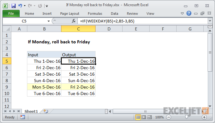Excel formula: If Monday, roll back to Friday | Exceljet
