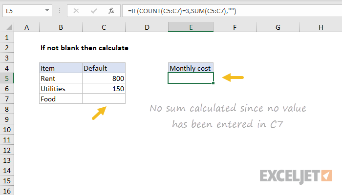 Excel formula: Only calculate if not blank | Exceljet