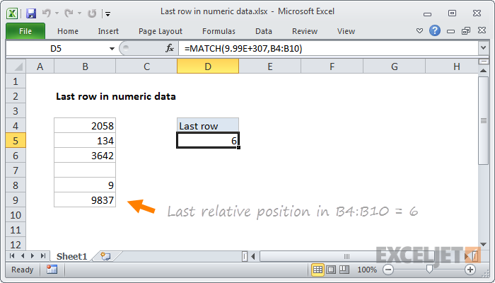 Excel formula: Last row in numeric data