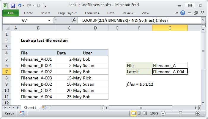 Excel formula: Lookup last file version