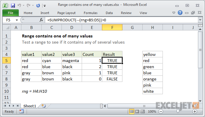 Excel formula: Range contains one of many values