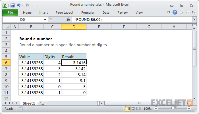 round excel function
