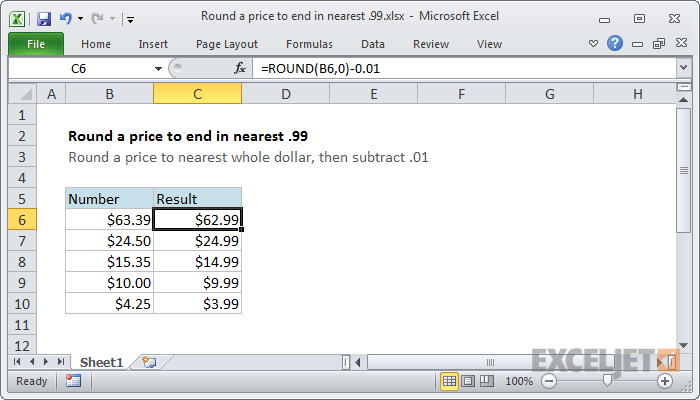 Excel formula: Round a price to end in .99