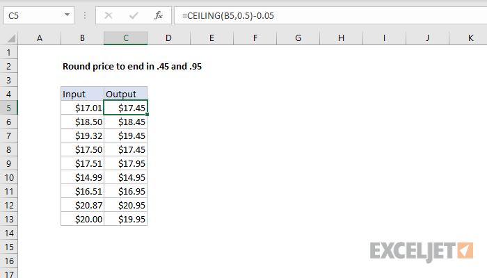Excel formula: Round price to end in .45 or .95
