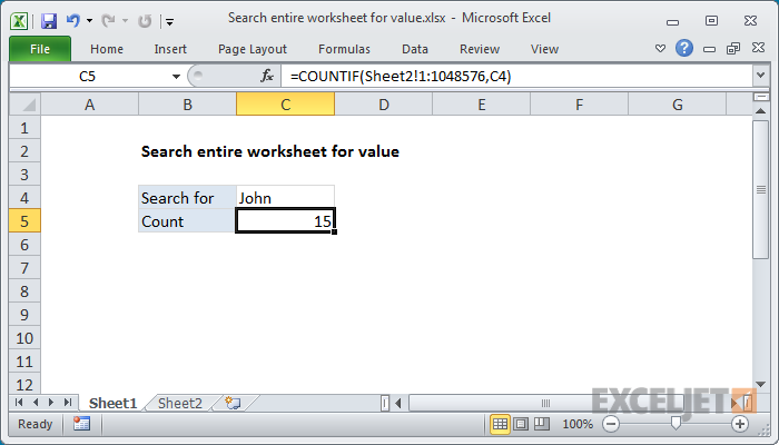 Excel formula: Search entire worksheet for value