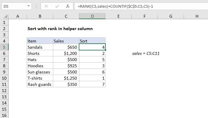 Excel formula: Basic numeric sort formula