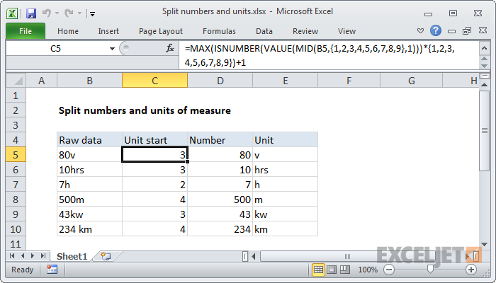 Excel formula: Split numbers from units of measure
