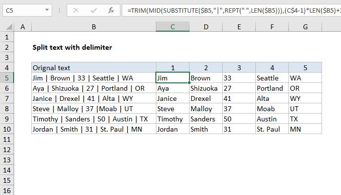 Excel formula: Split text with delimiter | Exceljet