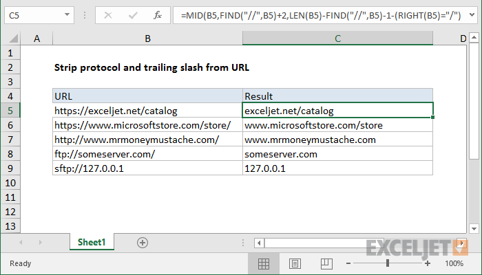 Excel formula: Strip protocol and trailing slash from URL