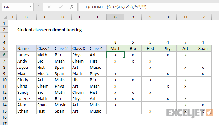 excel formula  student class enrollment with table