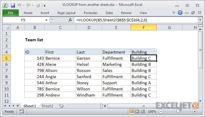 Excel formula: VLOOKUP from another sheet