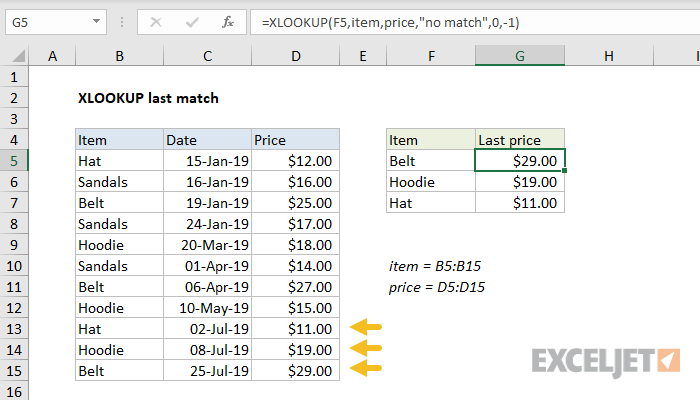 Excel formula: XLOOKUP last match