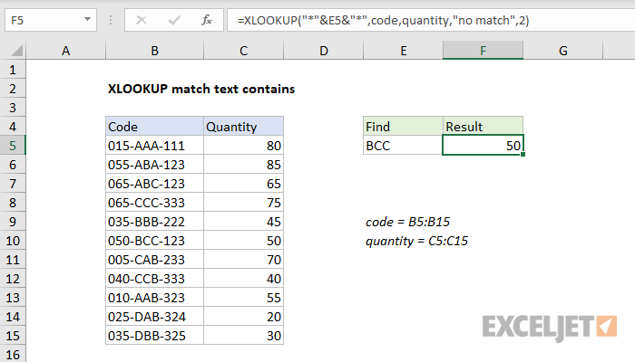 Excel formula: XLOOKUP match text contains