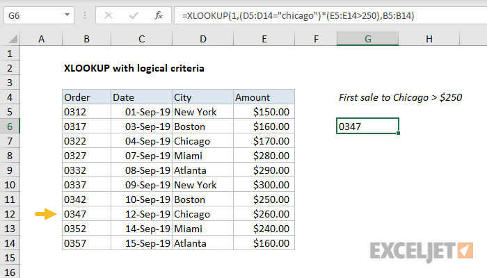 Excel formula: XLOOKUP with logical criteria