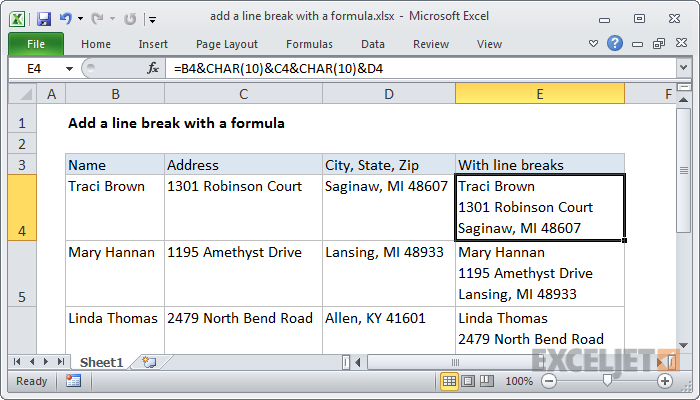 Excel formula: Add a line break with a formula